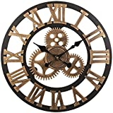 SOLEDI 12 Inch Industrial Wall Clock Handmade 3D Gear Clock Large Rustic Decorative Wall Clock European Retro Vintage Clock Wall Decor for Retro Style Living Room/Office/Bar/Restaurant Decoration