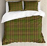 Lunarable Plaid Duvet Cover Set Queen Size, Tartan Pattern in Autumn Tones Old Fashioned Design Country Illustration, Decorative 3 Piece Bedding Set with 2 Pillow Shams, Olive Green Mustard