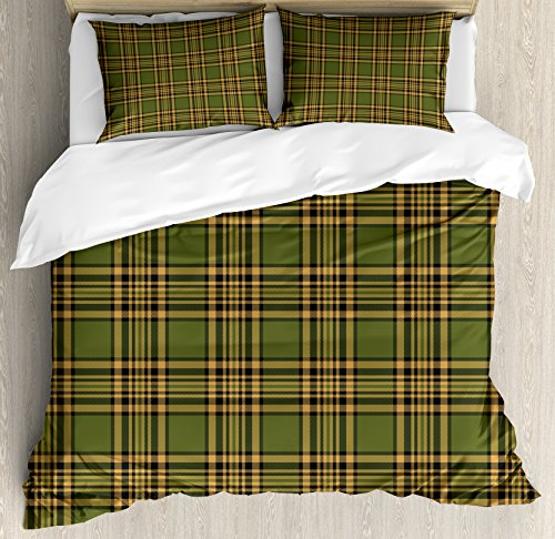 (Lunarable Plaid Duvet Cover Set Queen Size, Tartan Pattern in Autumn Tones Old Fashioned Design Country Illustration, Decorative 3 Piece Bedding Set with 2 Pillow Shams, Olive Green Mustard)
