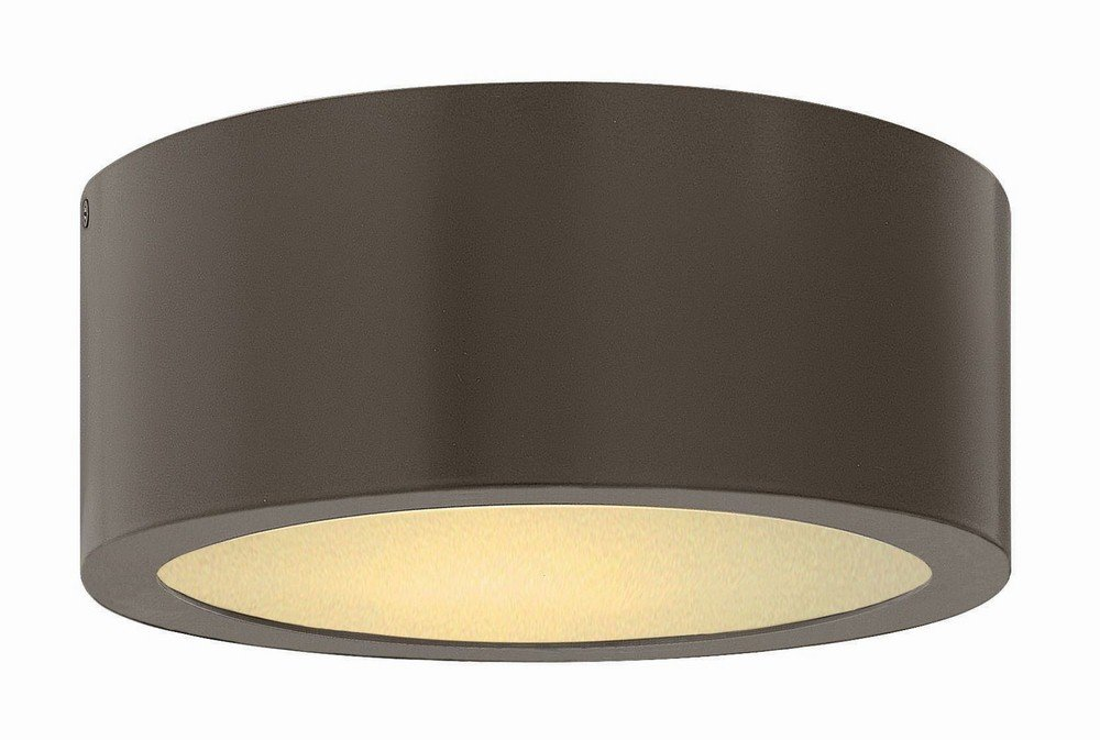 Hinkley 1665BZ Contemporary Modern One Light Outdoor Flush Mount from Luna collection in Bronze/Darkfinish,