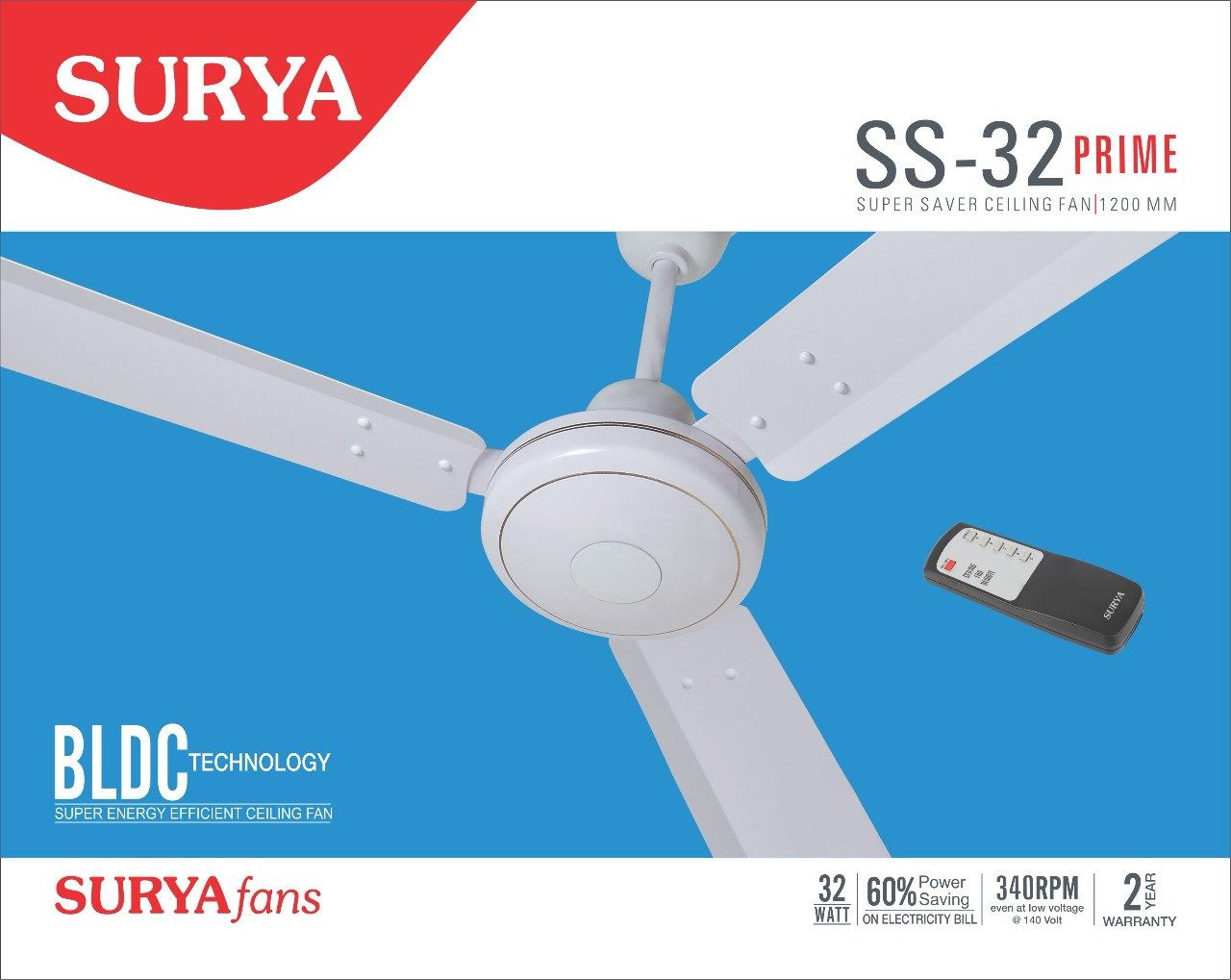 Surya SS-32 Prime White BLDC Ceiling Fan