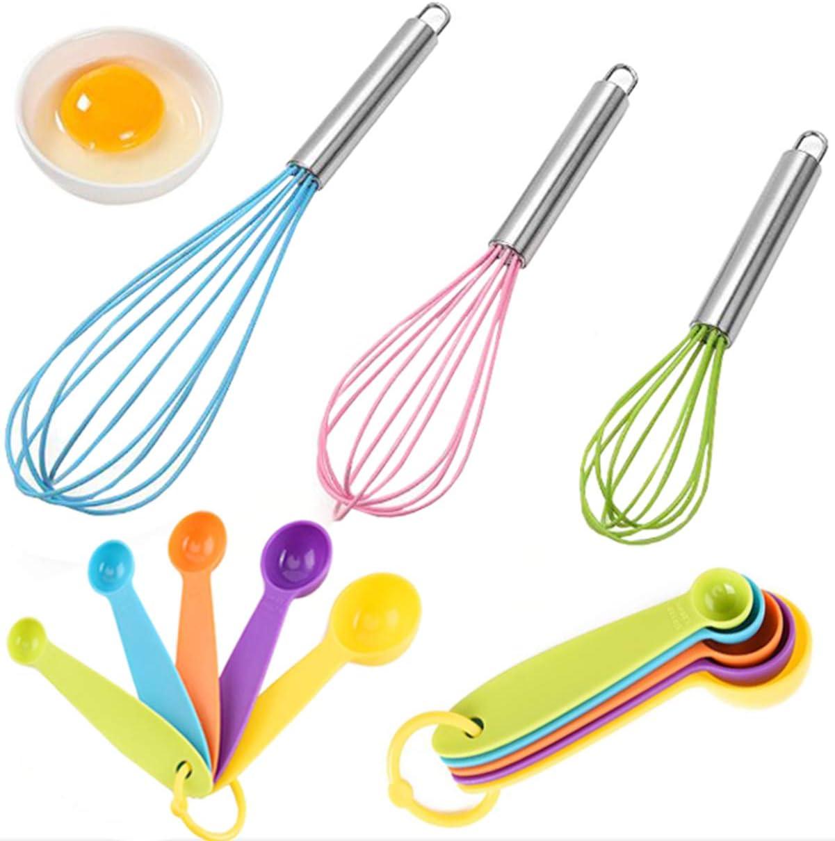 Colore Casuale liuer 3PCS Frusta a Mano,Fruste da Cucina in Silicone con Cucchiai Dosatori Frustino per Battere e Mescolare