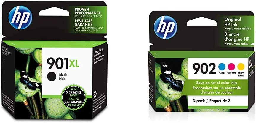 HP 901XL | Ink Cartridge | Black | CC654AN & 902 | 3 Ink Cartridges | Cyan, Magenta, Yellow | T6L86AN, T6L90AN, T6L94AN (T0A38AN#140)