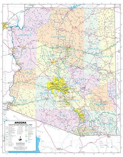 Arizona Counties and Roads Small Wall Map Gloss (Arizona Wall Map)