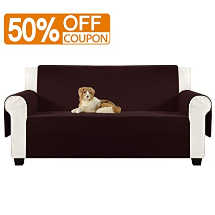 Aidear Anti-Slip Sofa Slipcovers Jacquard Fabric Pet Dog Couch Covers Protectors (Sofa, Dark Brown)