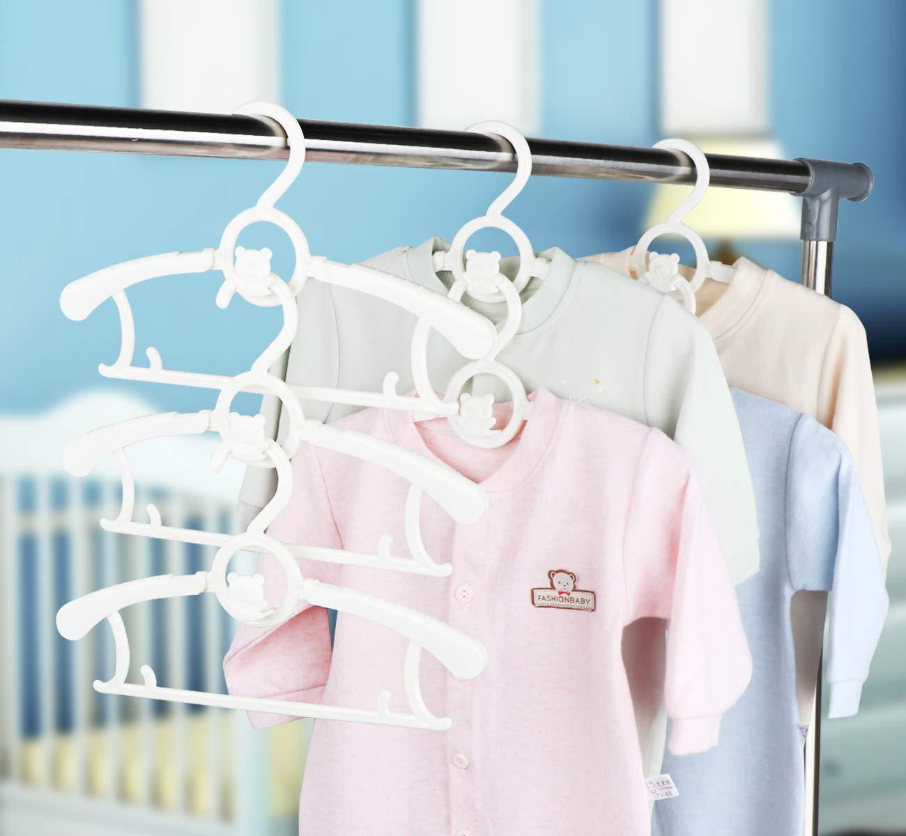 Wei/ß Anstore 20 St/ück Mitwachsende Kinderkleiderb/ügel Platzsparend mit Stapelbaren B/ärchen-Haken Rutschfeste Kleiderb/ügel f/ür Babys und Kleinkinder