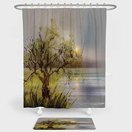 Tree Shower Curtain And Floor Mat Combination Set By The Sea At Sunset With Odd