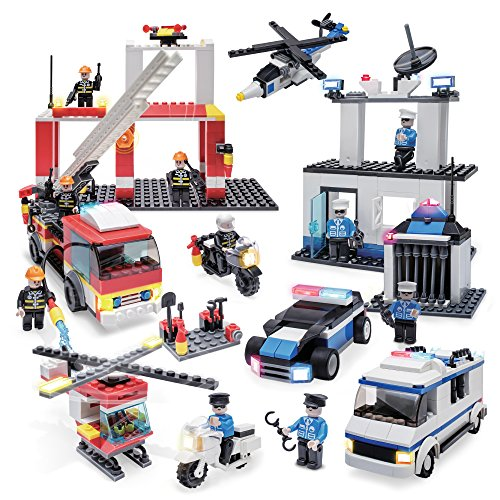 Creative Kids Fire Police Build Rescue Set - 898-Piece Playset w/Tools, Helicopter, Fire Department, Fire Truck, Motorcycle, Jail, Police Station, Prisoner Transport, Patrol Car & Figures
