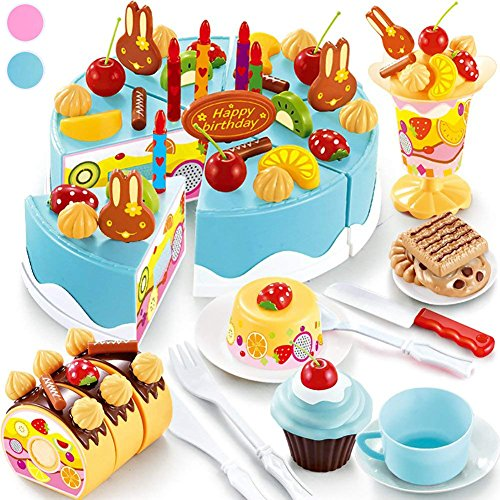 Seoaura Pretend Play Toys for Kids - DIY Cutting Birthday Cake Food Toy Set of 75PCS for Children Early Education - Safe & Non-Toxic (Blue)