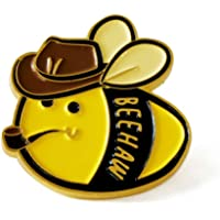 Cute Cowboy Bee Beehaw Flower Enamel Lapel Pin Badge - Charm Bee with Cowboy Hat and Pipe Pin Gifts for Cat Lover Women…