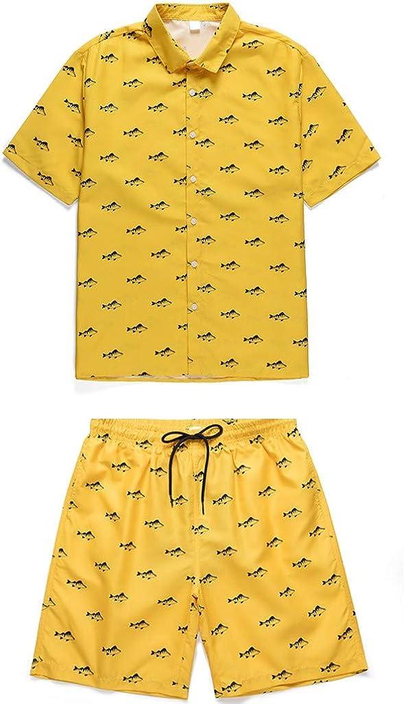 Shorts Hawaien Hommes Pantalon Court De Plage Ensemble Short Tee Shirt Homme Chemise Manche Courte Impression