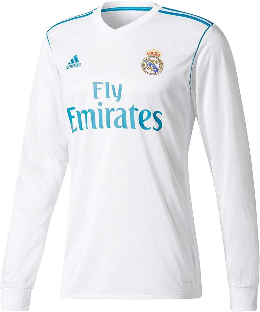 adidas H JSY Y LS Camiseta 1ª Equipación Real Madrid 2017-2018, niños, Blanco/azuint, 164: Amazon.es: Ropa y accesorios