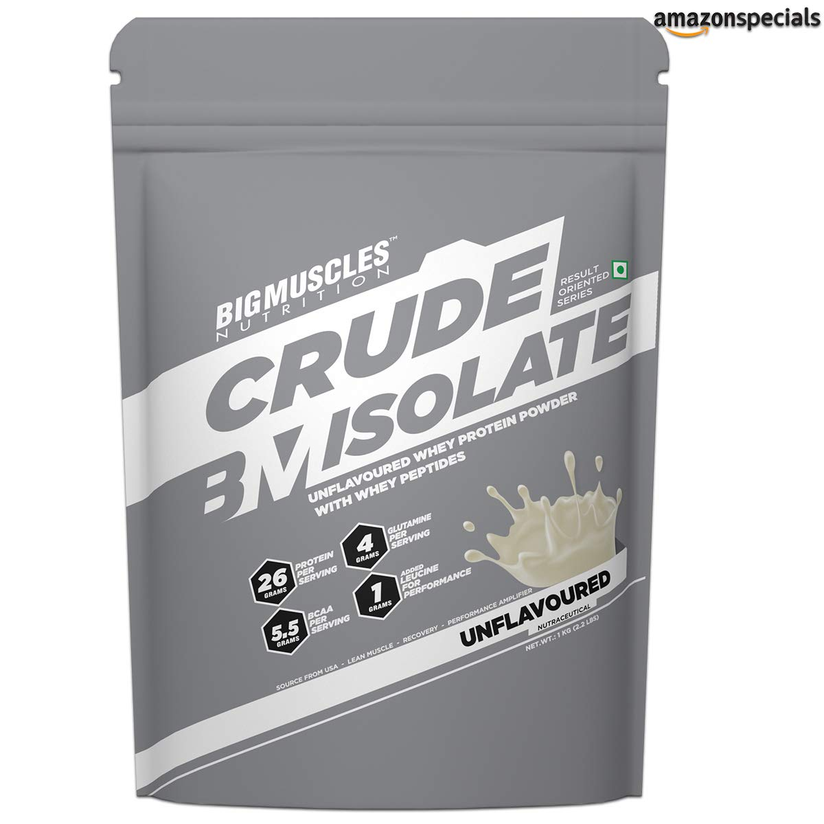 Bigmuscles Nutrition Crude Isolate 1Kg, Whey Protein Isolate
