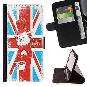 King Case - FOR HTC One M9 - Don't open dead inside - Prima caja de la PU billetera de cuero con ranuras para tarjetas, efectivo Compartimiento desmontable y correa para la mu?eca