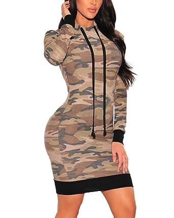 2743101f224e5 XAKALAKA Women s Long Sleeve Camo Hoodie Sexy Bodycon Mini Dress at ...