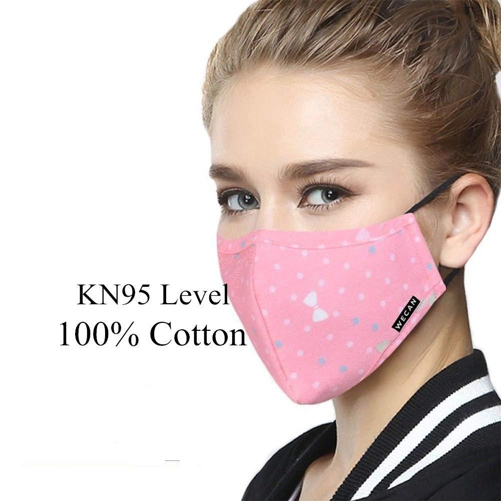 ZWZCYZ - Mascarillas respiradoras para mujer y niña N95 PM 2.5 de algodón y carbón activado, se pueden lavar, reutilizables, varios colores