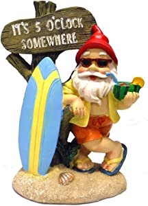5:00 Somewhere Tropical Party Gnome Garden Statue