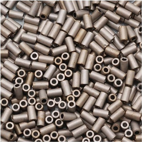 Toho Bugle Tube Beads Size #1 / 2x3mm Metallic Silver Frosted Antique Silver 8g ()