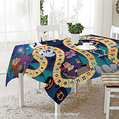 BeeMeng Spring and Easter Dinner Tablecloth,Kitchen Table Decoration,Board Game,Halloween Theme Symbols Happy Witch Girl Vampire Ghost Pumpkins Happy Comic,Multicolor,59 x 83 inches
