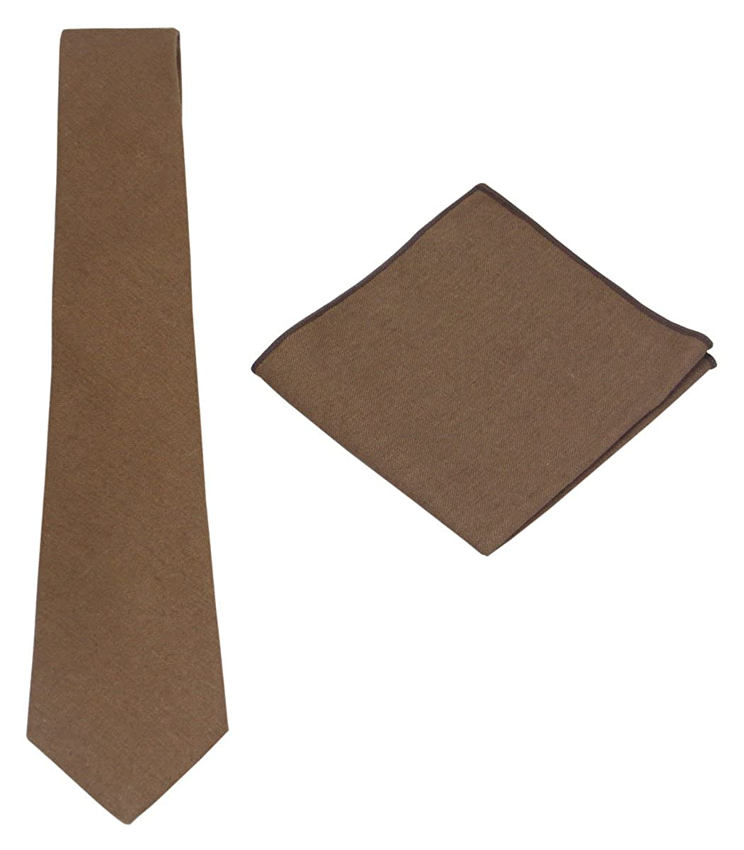 Various Solids Mens Linen Tie Set: Necktie with Matching Pocket Square