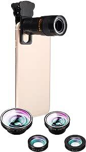 Phone Camera Lens Kit, Hizek Universal 5 in 1 Clip-on iPhone lens 180 Degree Fisheye+0.63 Wide Angle Lens+Macro Lens+9X Telephoto Lens+0.4X Wide Lens for iPhone 7/7 Plus /6s/6/5, Samsung S7/S7 Edge