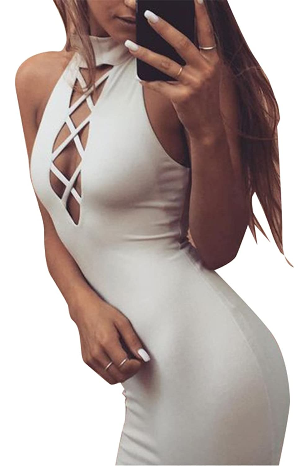 Oops Style Womens Sexy Turtleneck Bodycon Lace-Up Party Evening Dresses