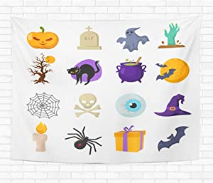 Topyee 50x60 Inch Tapestry Wall Hanging Halloween Cartoon Cute Characters Ghost and Witches Hat Pumpkin and Bat s Home Decorative Tapestries Wall Blanket for Dorm Living Room Bedroom