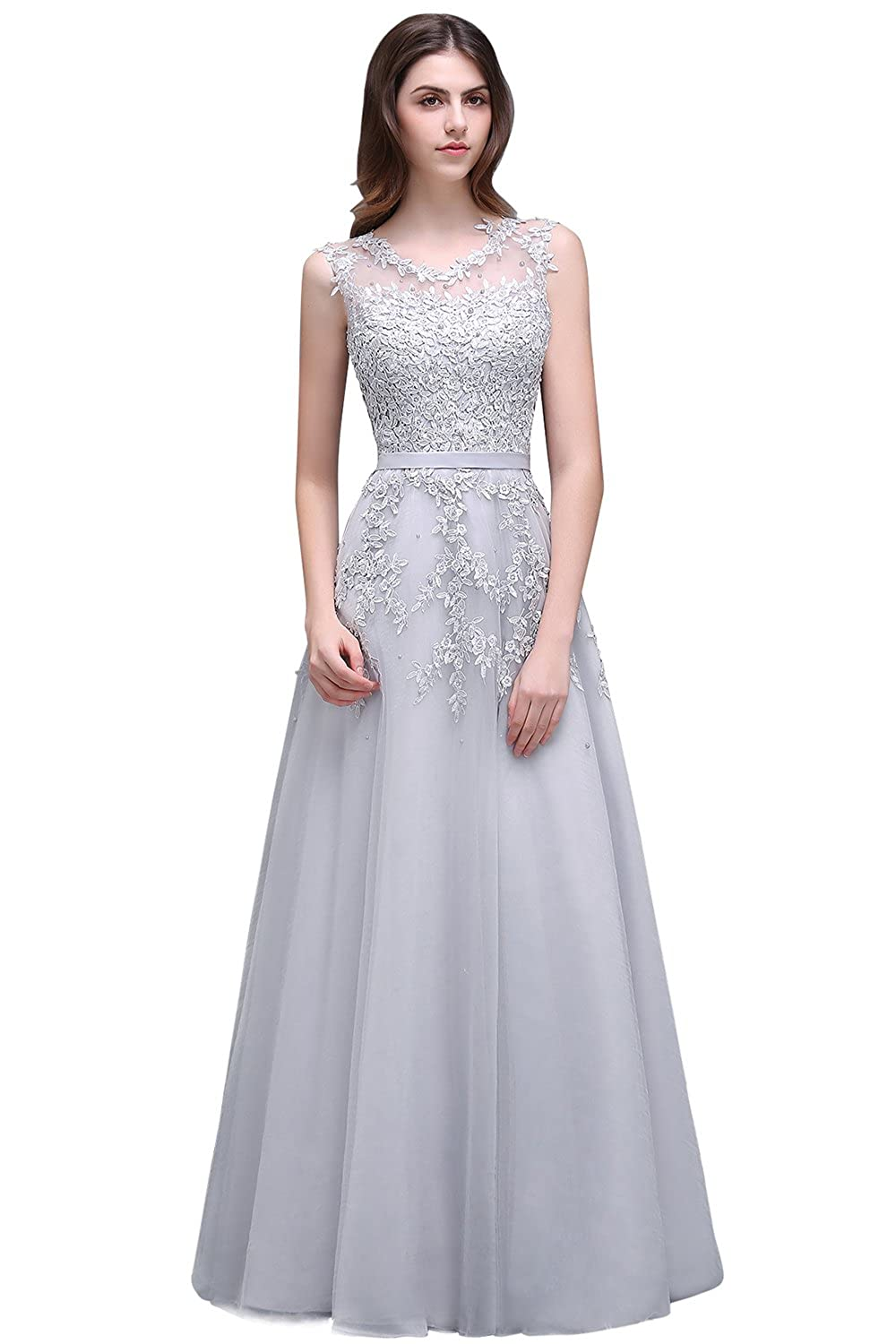 1eaaa5923ec Features A Line Style Sleeveless Lace Appliques Floor Length Women s Beaded  Sleeveless Long Prom Dresses Formal Lace Evening Gowns