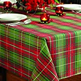 Benson Mills Christmas Plaid Printed Tablecloth, 60-Inch by 120-Inch