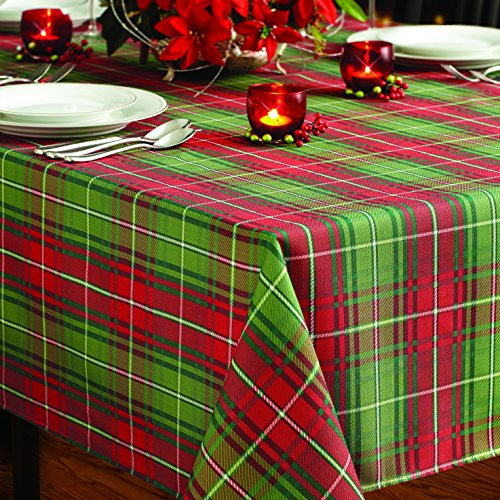 Benson Mills Christmas Plaid Printed Tablecloth, 60-Inch by 120-Inch Decorating The Table For Christmas