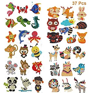 37Pcs Diamond Painting Stickers for Kids, ZONPEN Diamond Art Kits for Children, 5D Cute Animals Diamond Mosaic Stickers by Number Kits