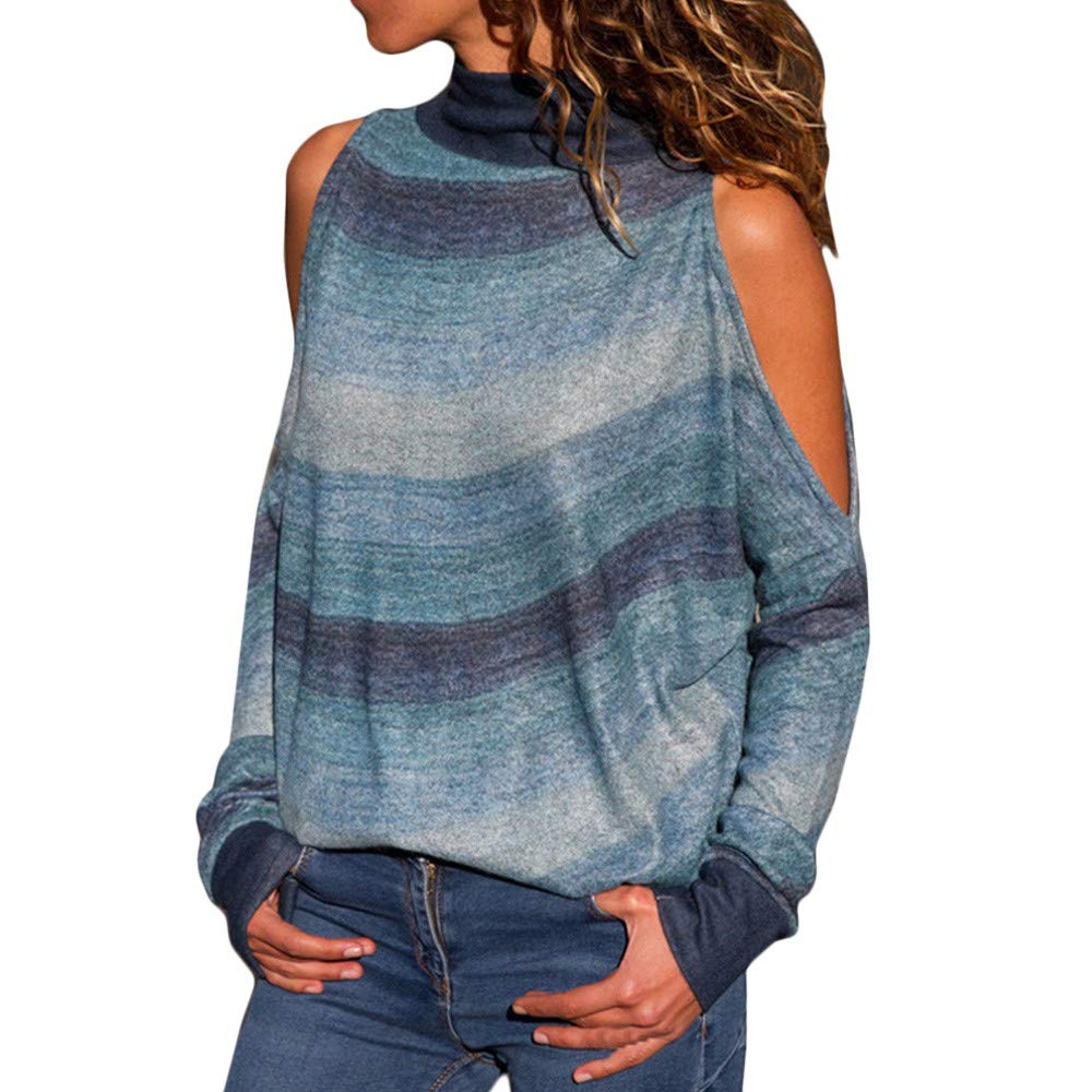 HIRIRI Turtleneck Open Shoulder Ladies Shirt Sexy Tunic Tank Crop Tops Long Sleeve Striped Women Blouse Blue by HIRIRI