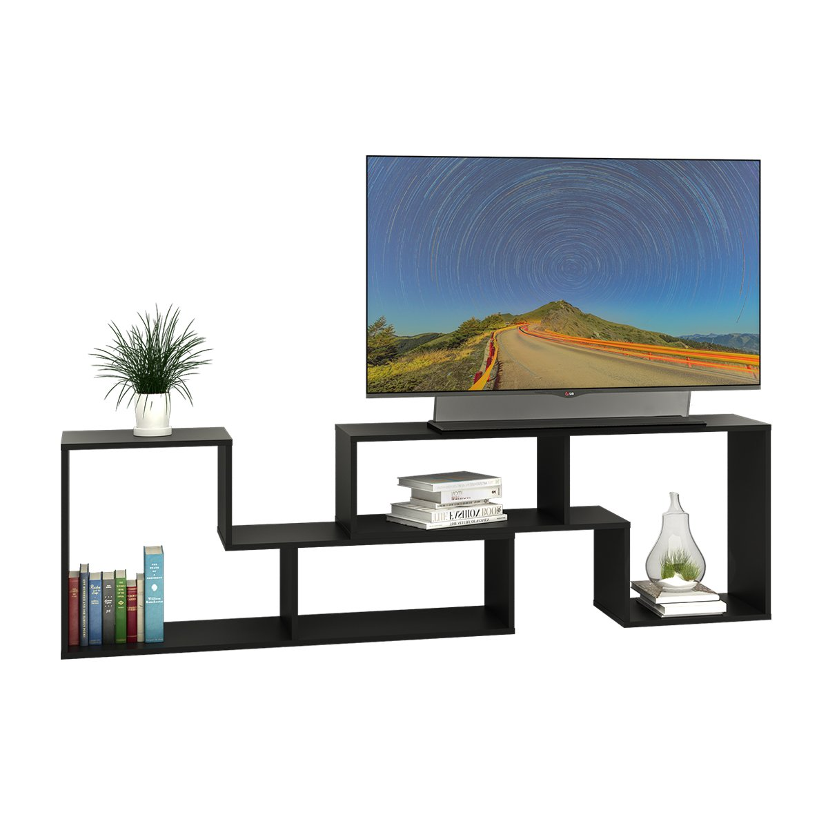 DEVAISE 3-in-1 Versatile TV Stand Bookcase Display Cabinet Black (0.6'' thickness)