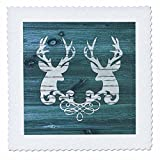 3dRose Russ Billington Designs - Two Stags Heads with Scroll- White on Blue Wood Effect- Not Real Wood - 16x16 inch quilt square (qs_262011_6)