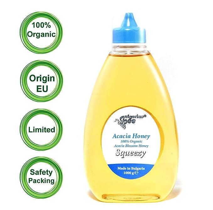 1 kg Miel de Acacia orgánica, exprimir - Certificado Bio, sin antibióticos, sin azúcar, sin calentar, sin pasteurizar, crudo, miel real ...