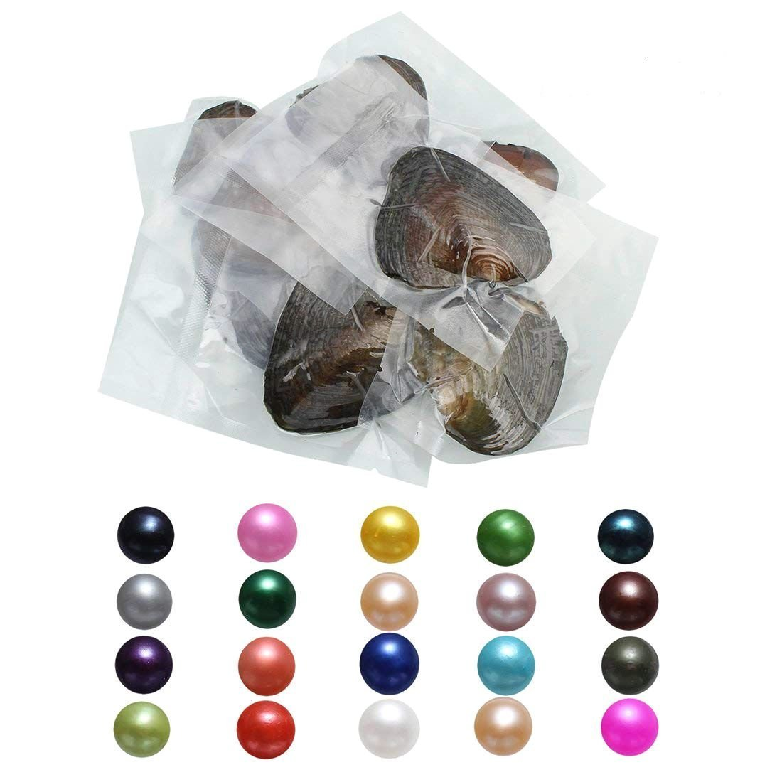 POSHOPS 15PC Freshwater Cultured Oysters with Pearls Inside Pearl Oysters for Wedding Anniversary Gift Random Color 7-8mm
