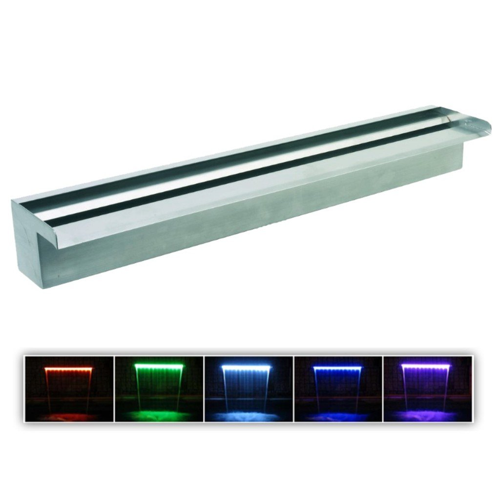 Patriot Steel Elegance STE48G Emerald Green Lighted 48'' Lighted Stainless Steel Spillway