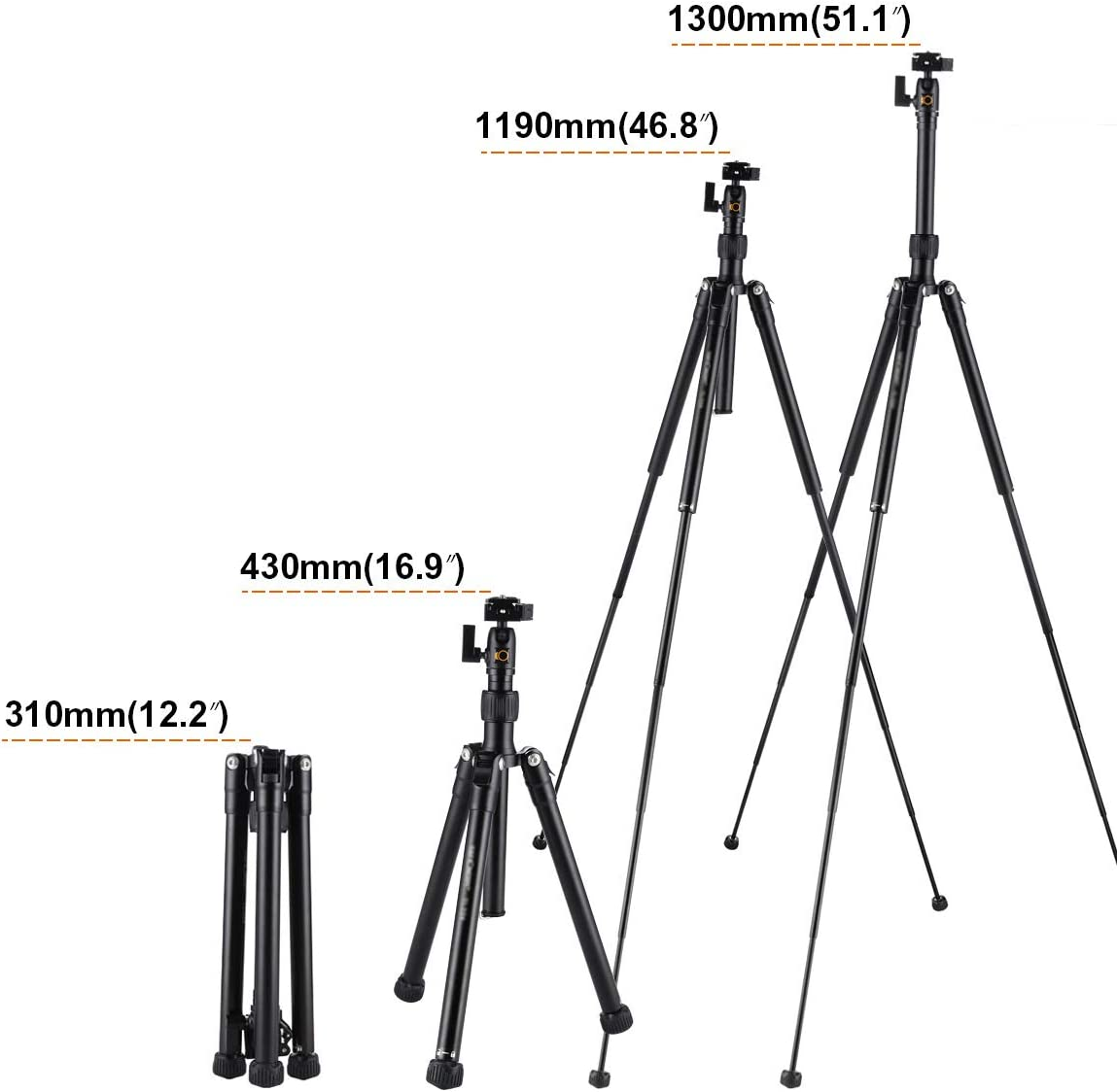 DZSM Lightweight Portable Magnesium Aluminum Tripod with Ball Head Outdoor Travel SLR Camera Photography Tripod