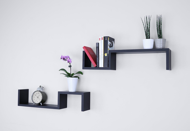 Set of 2 Ballucci S Wall Mounted Floating Shelves Black Decorative Storage Shelf for Bedroom Living Room or Bookshelf 21 x 4.75