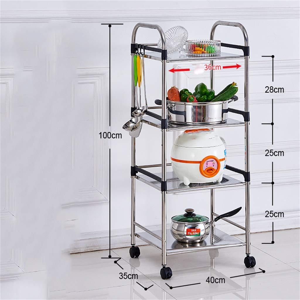 Size : 40 * 100cm Bathroom Shelf Multi-layer stainless steel kitchen Storage rack bathroom Floorstanding Wash basin stand Toilet storage rack