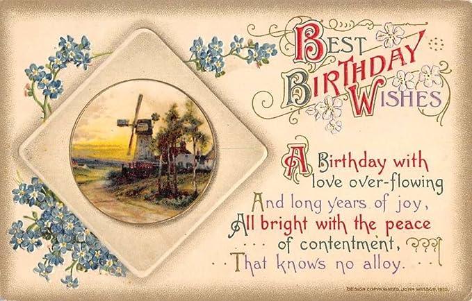 Group Of 4 Best Birthday Wishes Flower Scene Winsch Antique