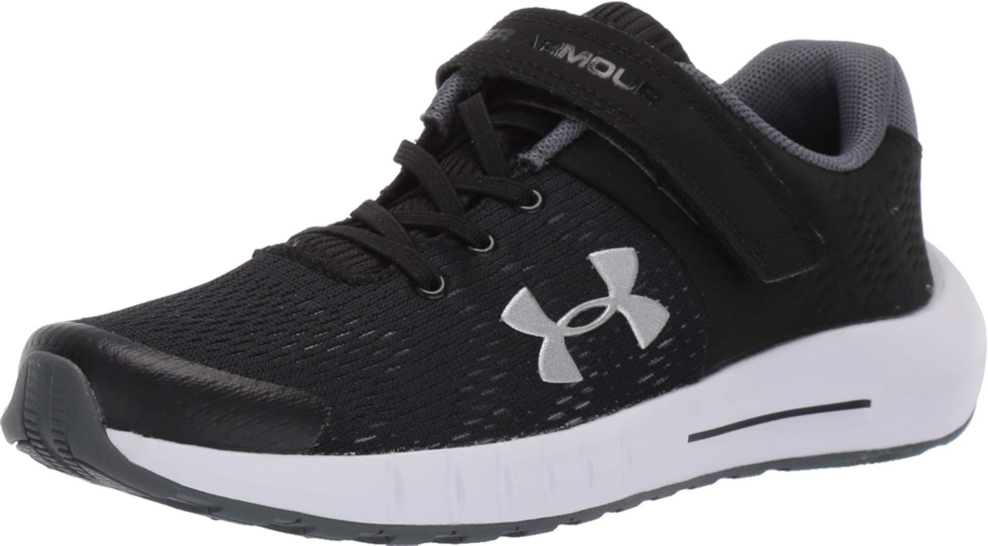 Under Armour Kids' Pre School Pursuit BP Alternate Closure Wide Sneaker, Black (001)/White, 3 2E