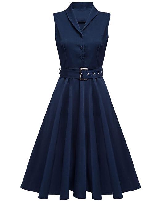 ZAFUL Mujer Vintage Vestidos Años 50 DE Fiesta Tallas Grandes Azul L