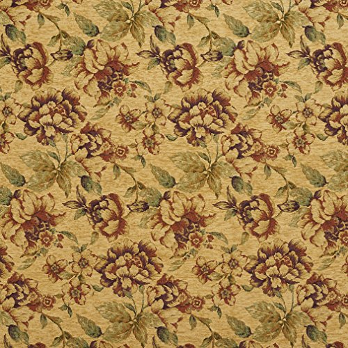 Autumn Brown and Coral Red Large Vintage Rose Floral Chenille Upholstery Fabric by the yard