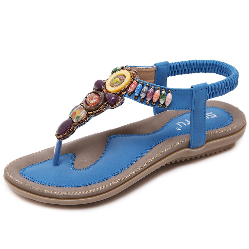 Woky Damen Sommer Sandalen mit Strass Perlen Bohemia Strand Schuhe Freizeit Flach Sandalette Grouml;szlig;e 34-44  36 EU|T-blau