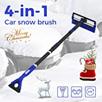 "$25 » JOYTUTUS 47"" Car Snow Brush, 4 in 1 Extendable Foam Snow Brush with Squeegee Ice Scraper,…"