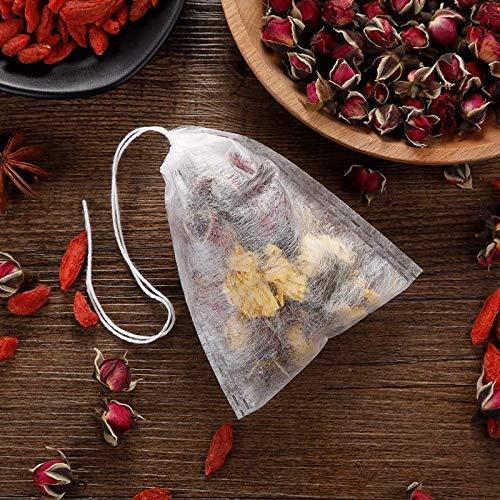 100 Pcs Biodegradable Tea Filter Bags,Disposable Tea Filter Bags,Empty Corn Fiber Drawstring Seal Filter Tea Bags for Loose Leaf Teal(3.54 x 2.75 inch) (100pcs)