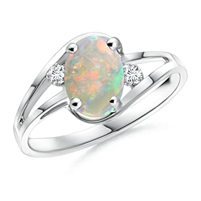 Angara Solitaire Pear Cabochon Opal Split Shank Ring in Yellow Gold K0mHKx