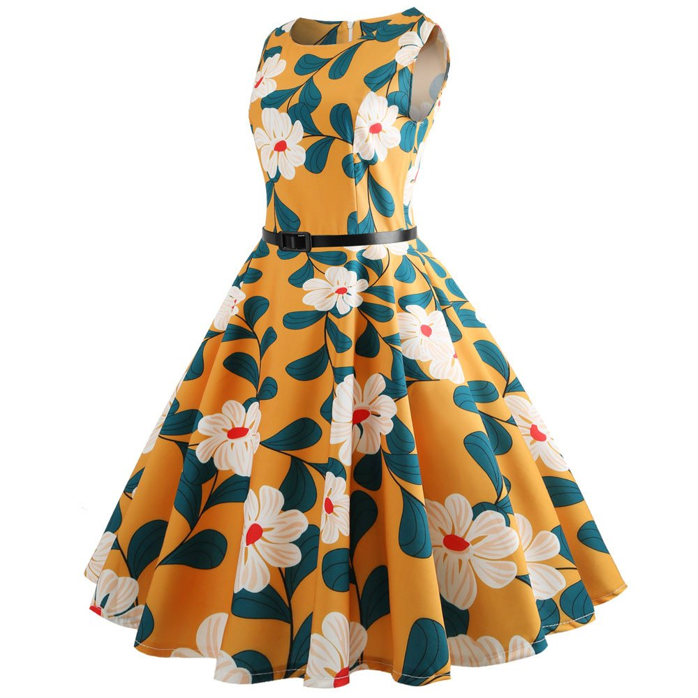 Women Vintage Dresses Printing Bodycon Sleeveless Casual Evening Party Prom Swing Dress