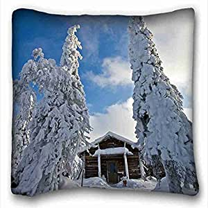 """Custom ( Nature Finland nature Winter snow drifts ate lodge ) Zippered Body Pillow Case Cover Size 16""""X16"""" suitable for Full-bed PC-Green-7174"""